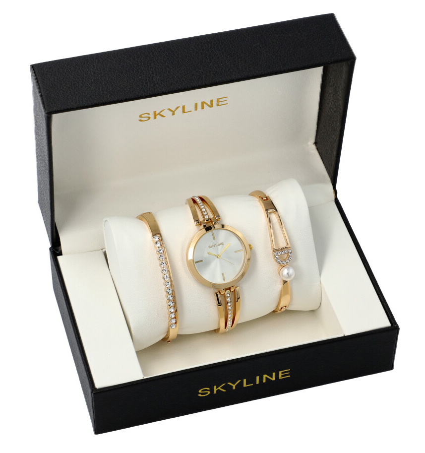 SKYLINE dámská dárková sada zlaté hodinky s náramky SM0010
