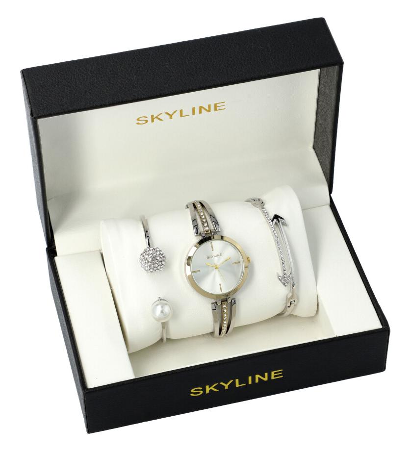 SKYLINE dámská dárková sada stříbrno-zlaté hodinky s náramky SM0011