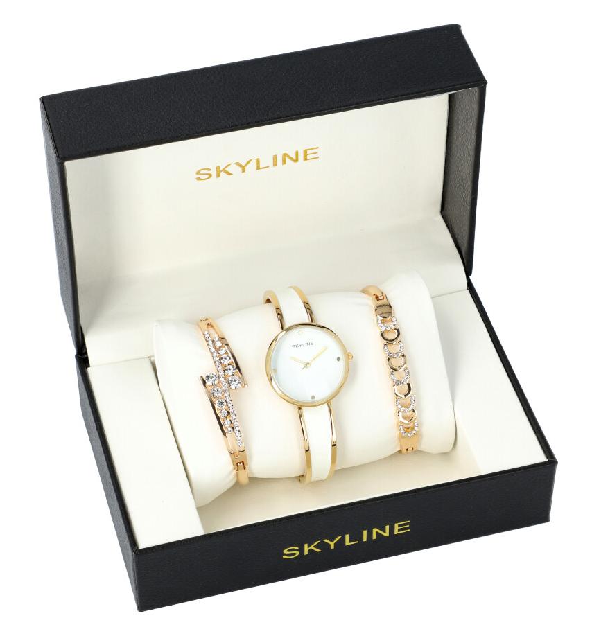 SKYLINE dámska darčeková sada bielo-zlaté hodinky s náramky SM0013
