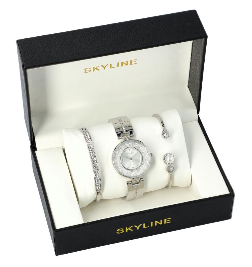 SKYLINE dámska darčeková sada strieborné hodinky s náramky SM0017