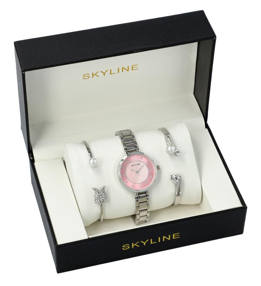 SKYLINE dámská dárková sada stříbrno-růžové hodinky s náramky SM0018