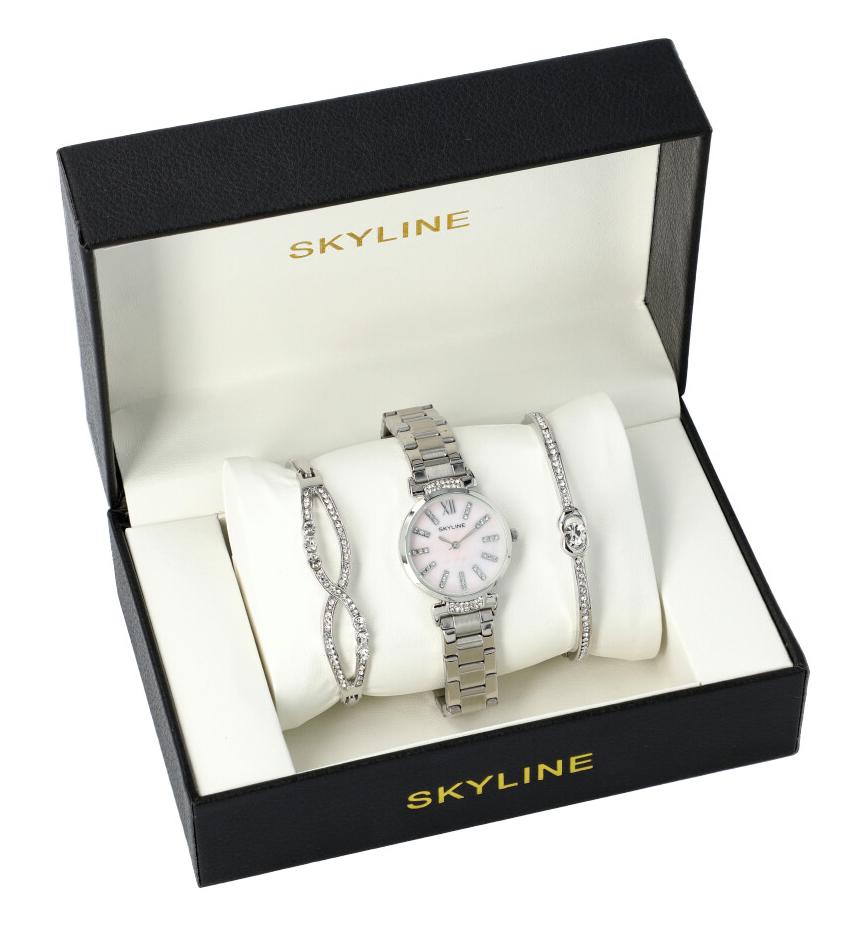 SKYLINE dámska darčeková sada strieborné hodinky s náramky SM0020