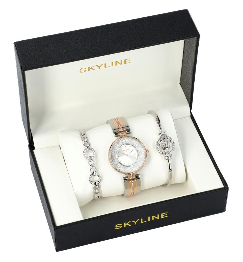 SKYLINE dámská dárková sada stříbrno-růžové hodinky s náramky SM0021