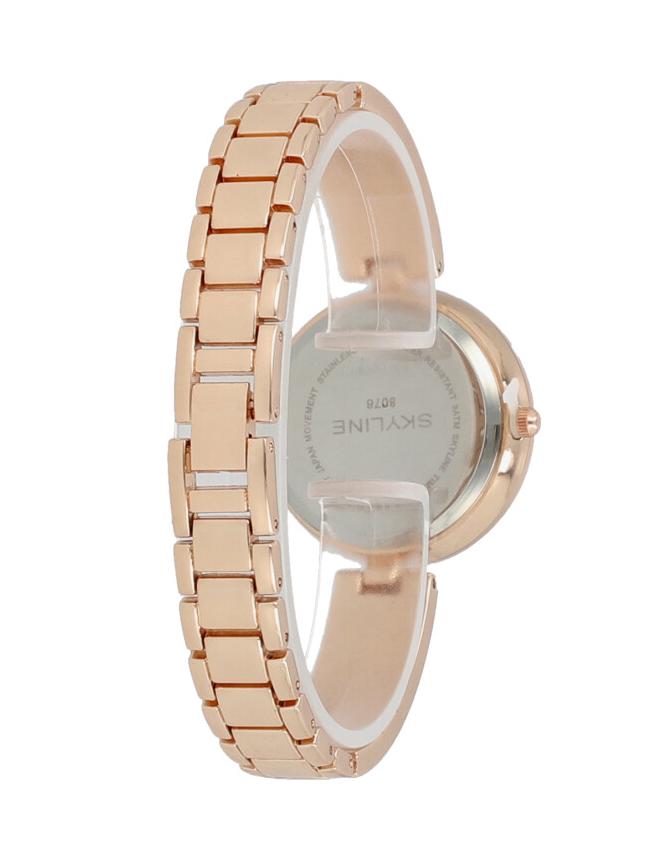Skyline Náramkové dámske hodinky ružovo zlaté s kamienkami 9550-6