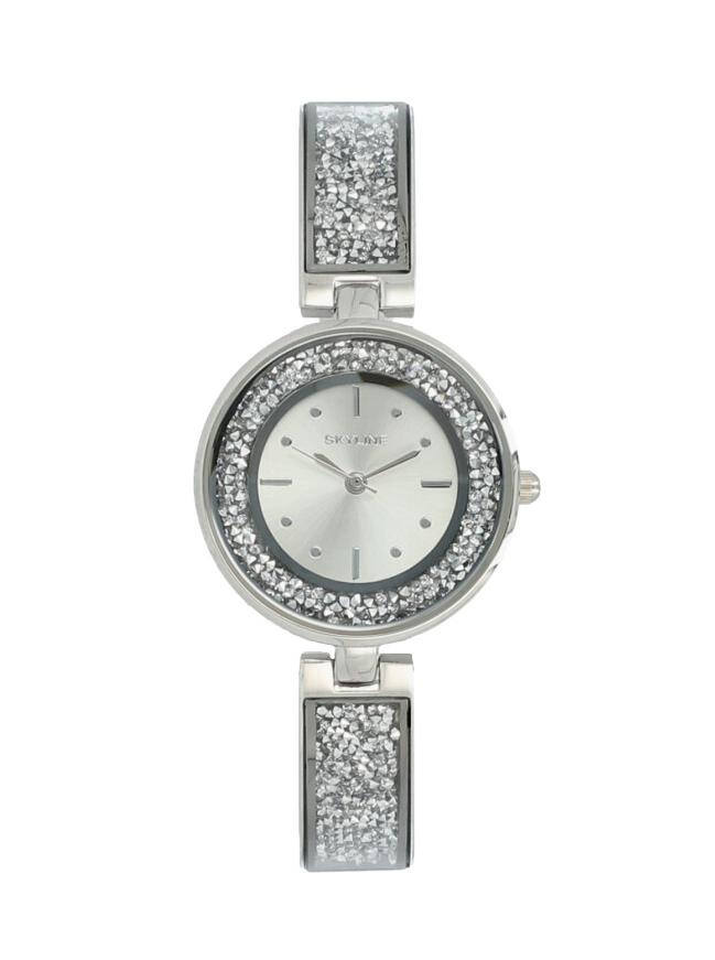 Skyline Náramkové dámské hodinky stříbrné s kamínky 9550-8