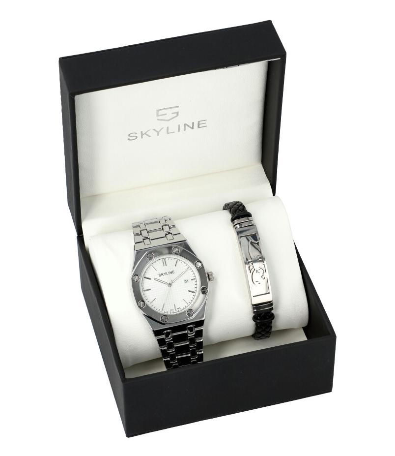 SKYLINE stříbrná pánská dárková sada hodinky s náramkem SH0011