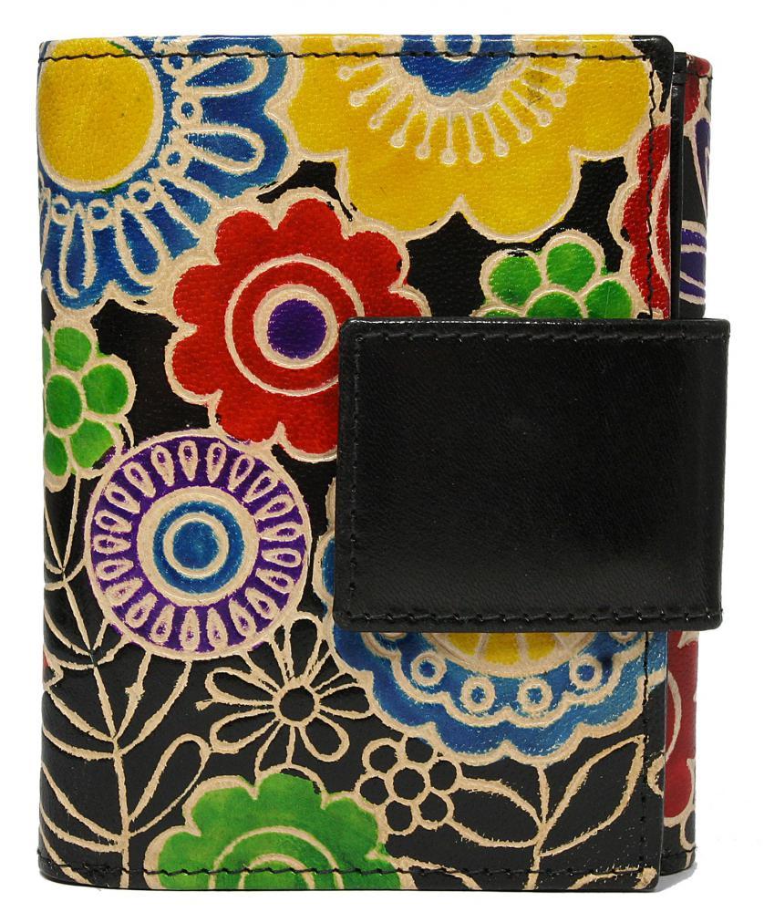 Čierna dizajnová dámska kožená peňaženka