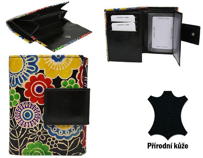 Černá designová dámská kožená peněženka