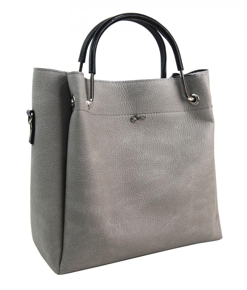 Středně šedá elegantní dámská kabelka S728 GROSSO