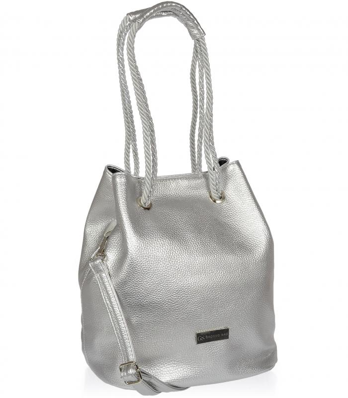 Stříbrná dámská kabelka přes rameno S738 GROSSO