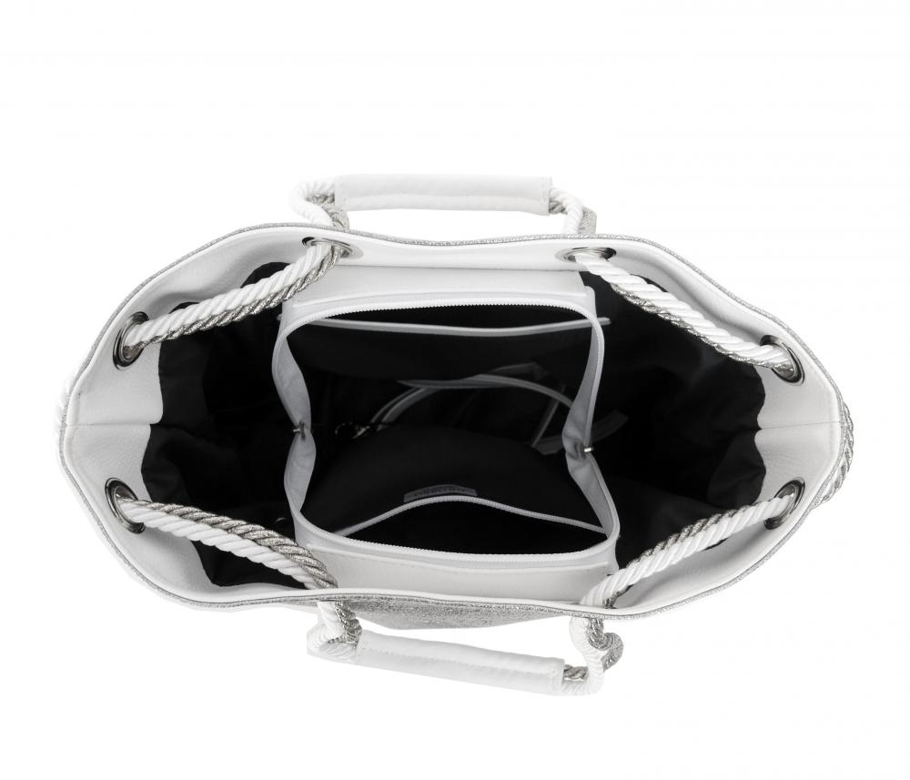 Stříbrná kabelka s lanovými držadly S760 GROSSO