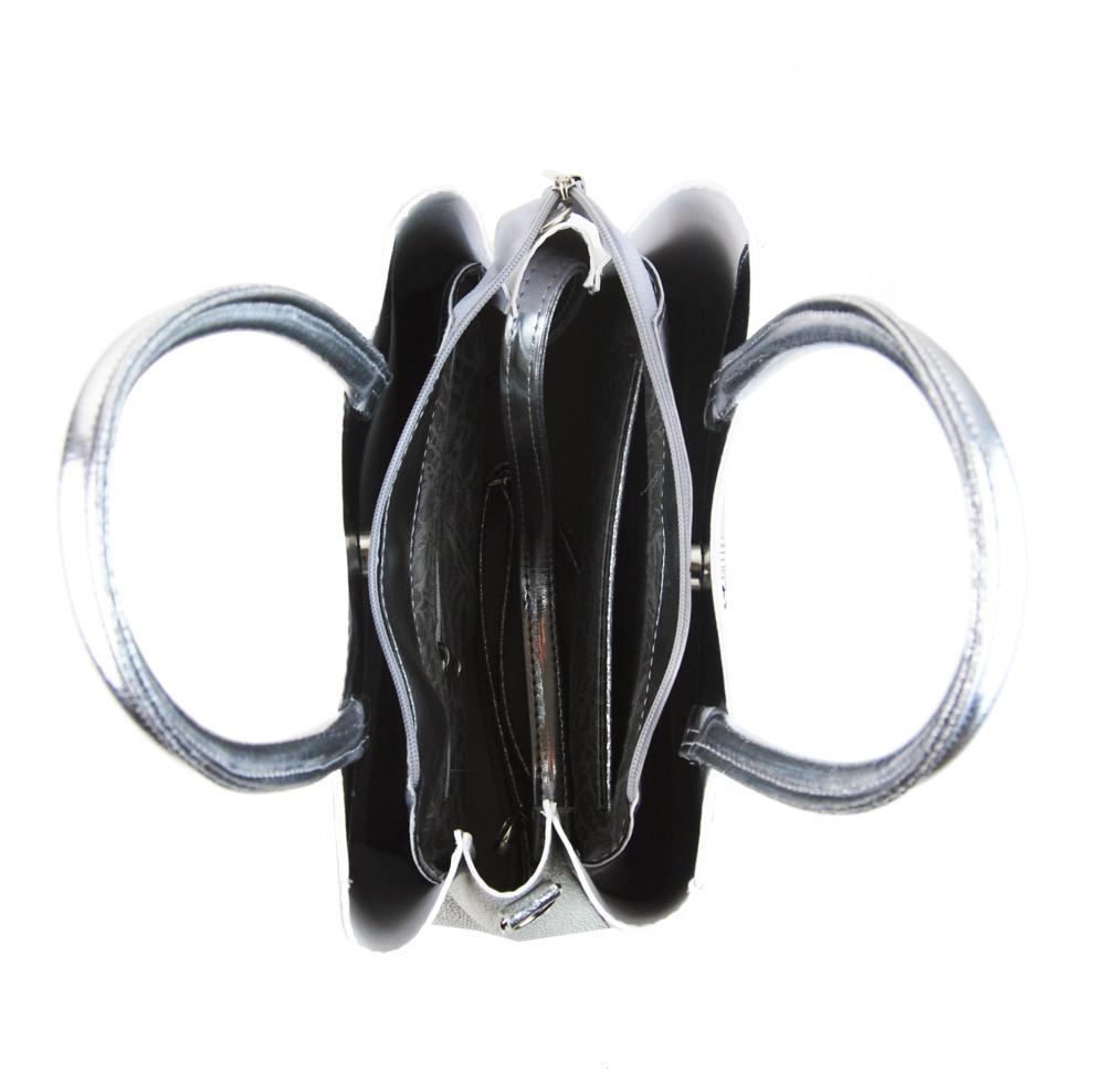Stříbrná elegantní kroko dámská kabelka S750 GROSSO