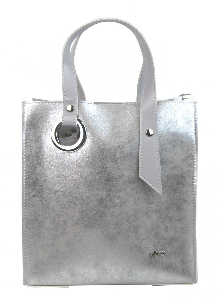 Stříbrná moderní obdélníková dámská kabelka S752 GROSSO
