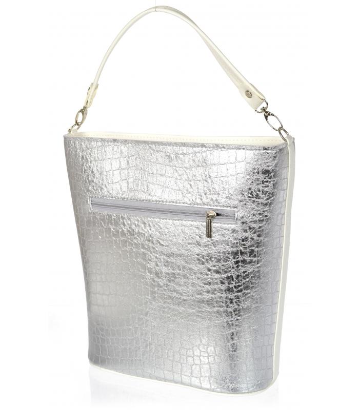 Stříbrno-bílá velká kroko dámská kabelka S583 GROSSO