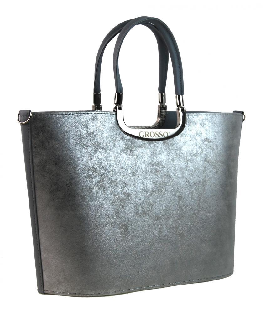Stříbrno-šedá dámská kabelka do ruky S7 GROSSO