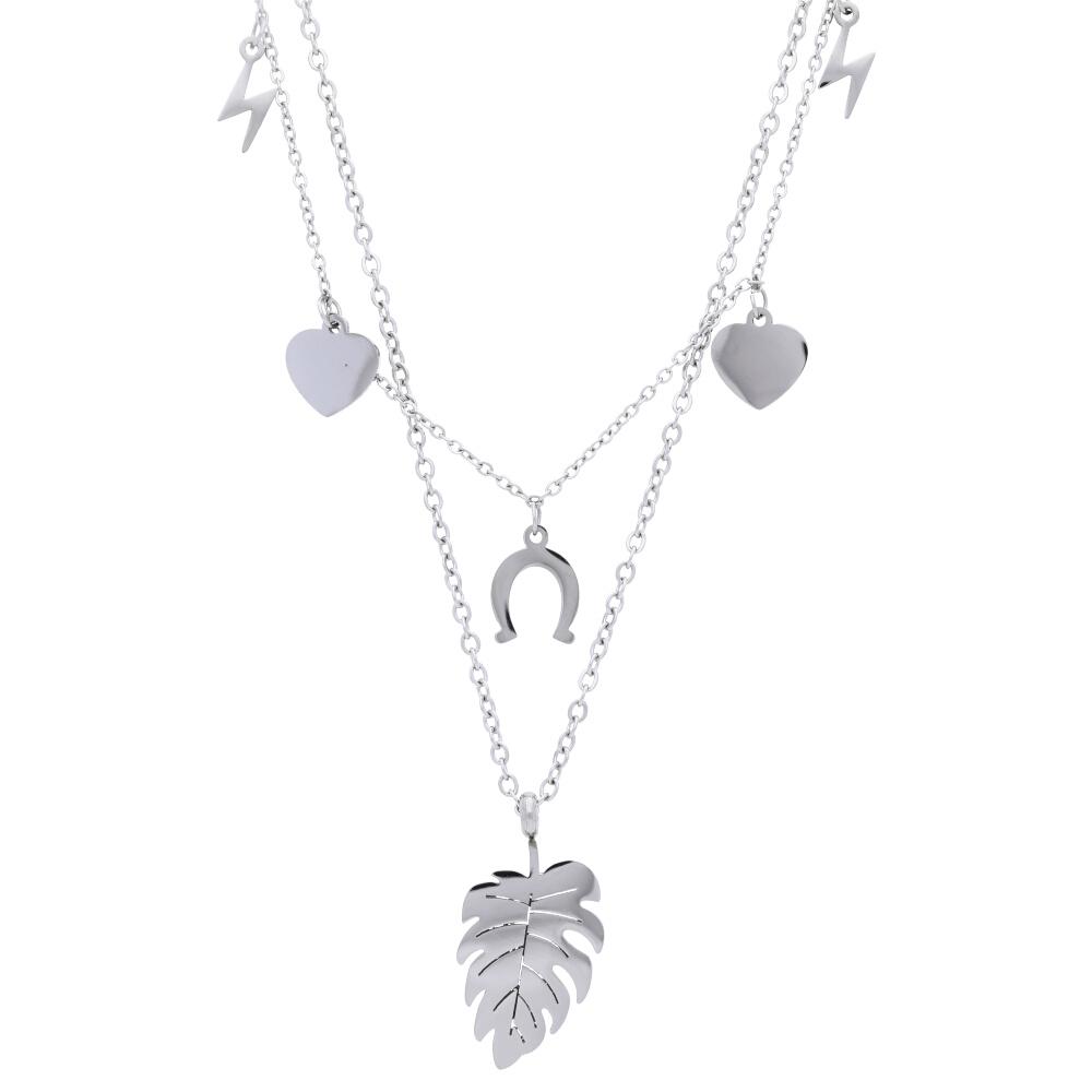 Stříbrný dámský náhrdelník s lístečkem NP008