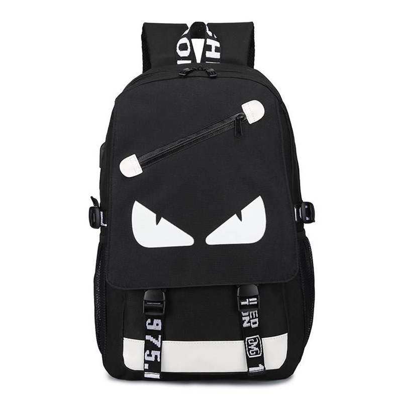 Eyes svietiaci čierny študentský batoh, USB port