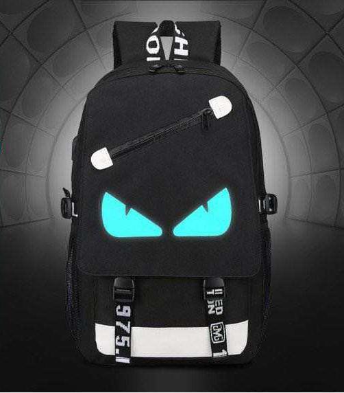 Eyes svítící černý studentský batoh, USB port