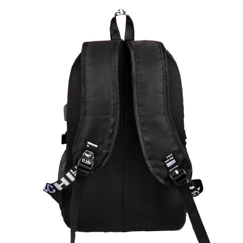 Cyberpunk svietiaci čierny študentský batoh, USB port