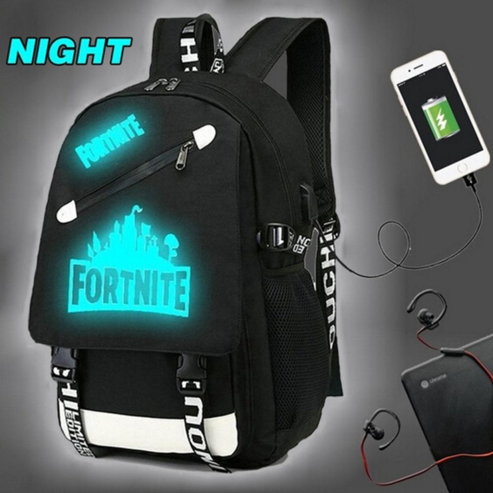 Among Us svietiaci čierny študentský batoh, USB port