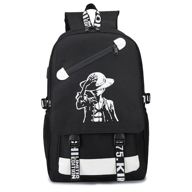 Ohazo svietiaci čierny študentský batoh, USB port