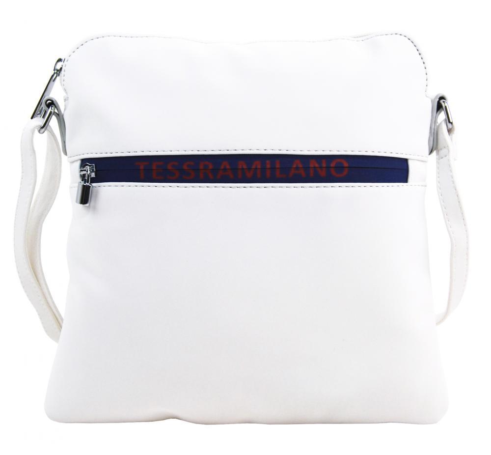 Športová crossbody dámska textilná kabelka 5329-BB biela