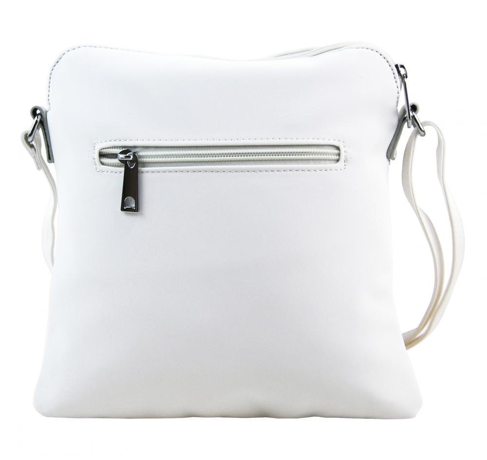 Sportovní crossbody dámská textilní kabelka 5329-BB bílá