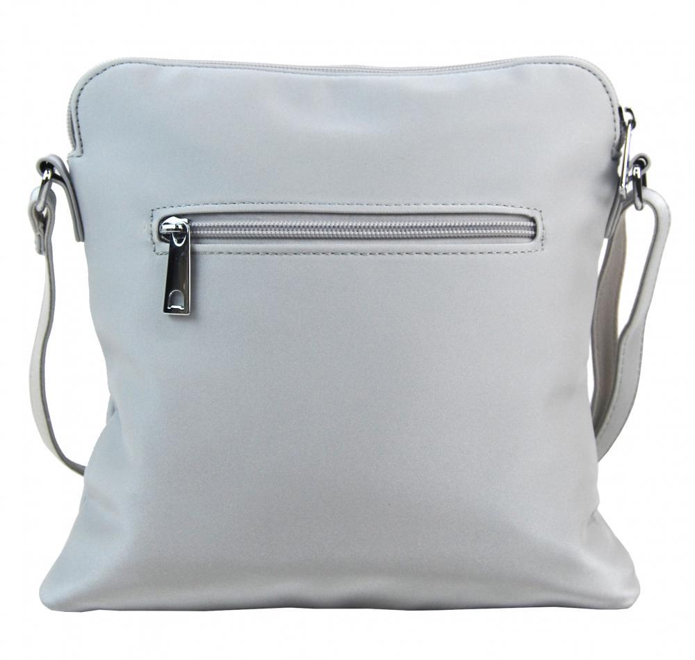 Sportovní crossbody dámská textilní kabelka 5329-BB stříbrná