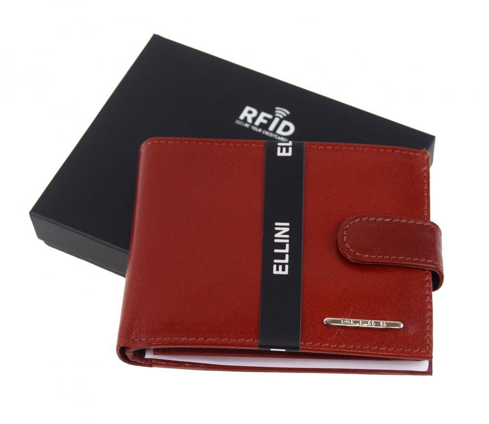 Koňaková hnedá pánska kožená peňaženka v krabičke Ellini RFID