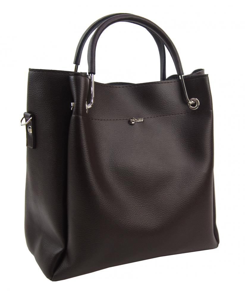 Tmavě hnědá elegantní dámská kabelka S728 GROSSO