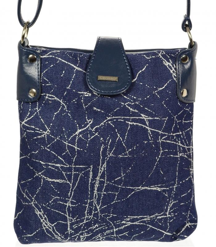GROSSO modrá jeansová dámská crossbody kabelka