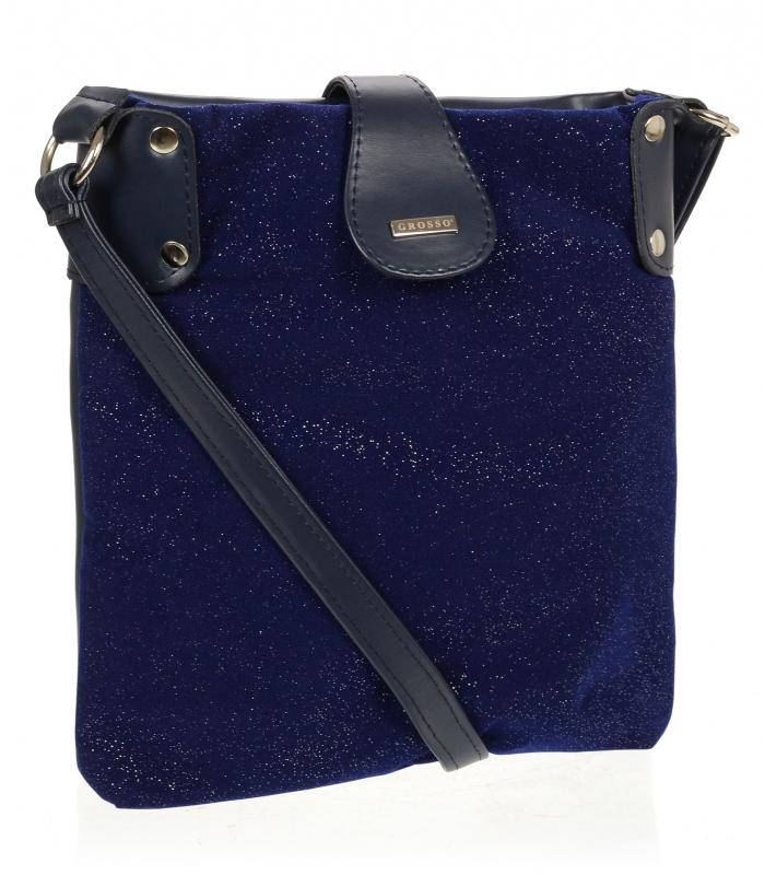 Modrá třpytivá dámská crossbody kabelka M66 GROSSO