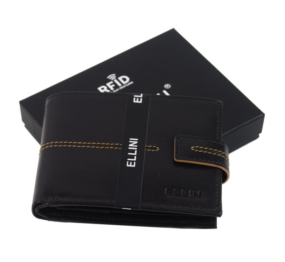 Čokoládovo hnedá pánska kožená peňaženka v krabičke RFID Ellini