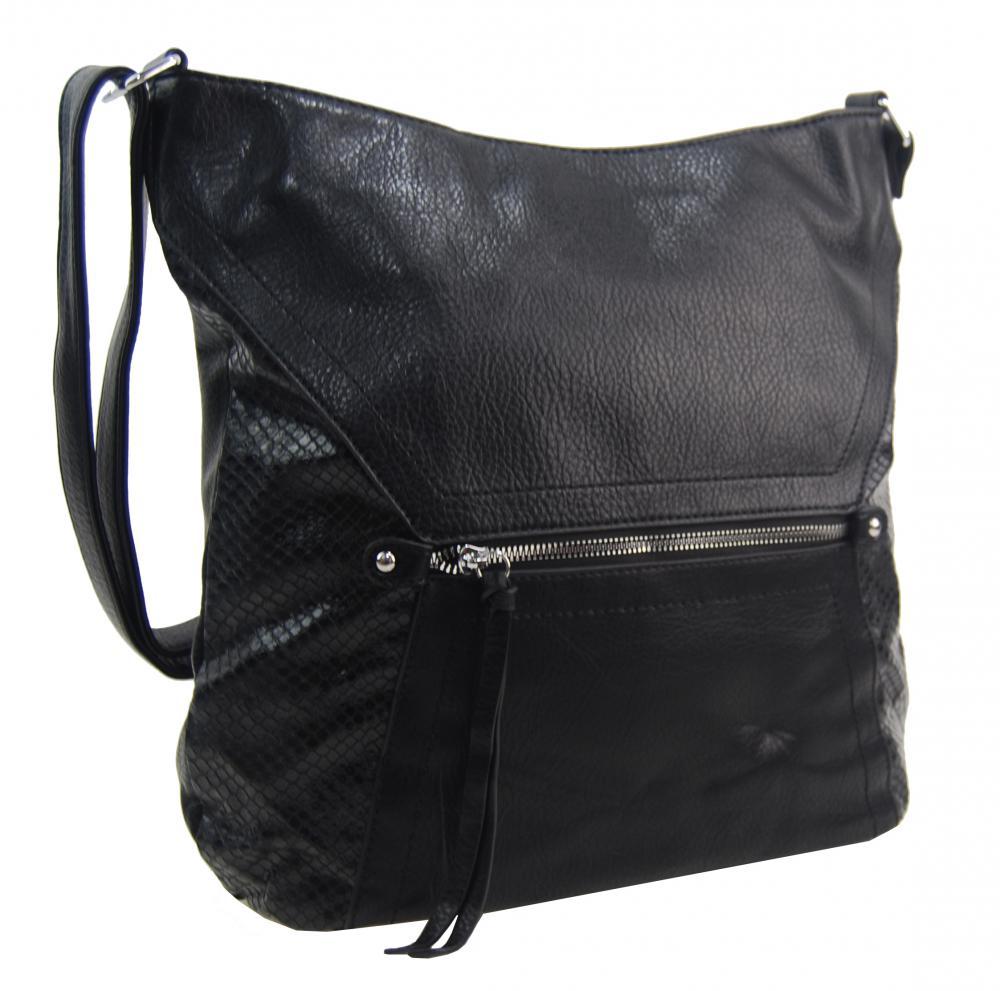 Velká černá dámská crossbody kabelka s čelní kapsou