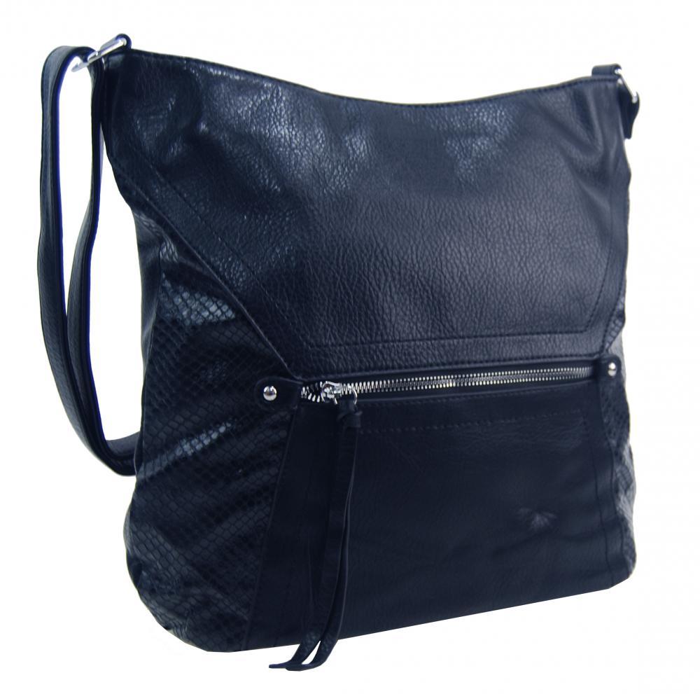 Velká tmavě modrá dámská crossbody kabelka s čelní kapsou