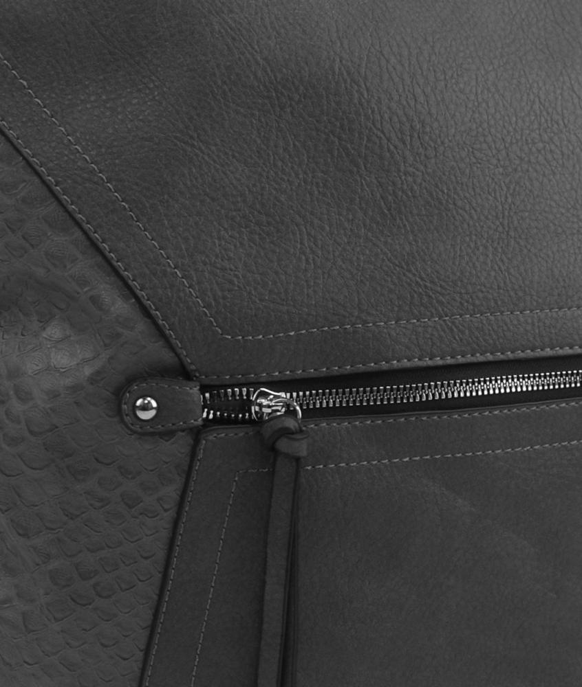 Veľká tmavo šedá dámska crossbody kabelka s čelnou priehradkou