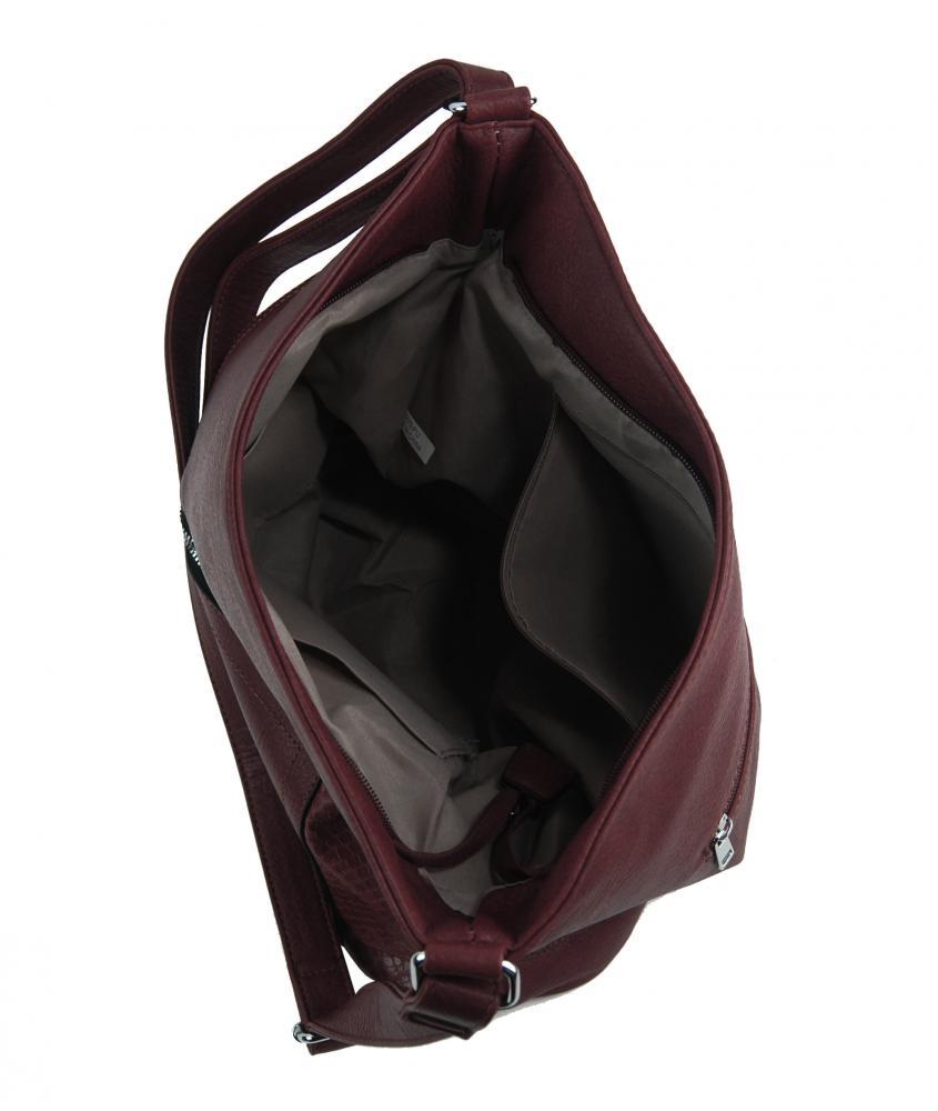 Veľká vínovo červená dámska crossbody kabelka s čelnou priehradkou