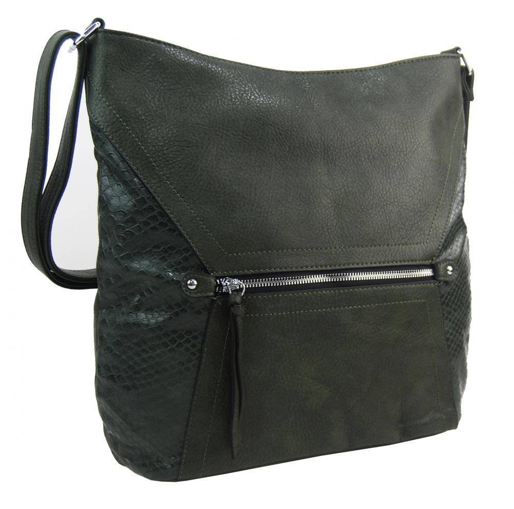 Velká tmavě zelená dámská crossbody kabelka s čelní kapsou