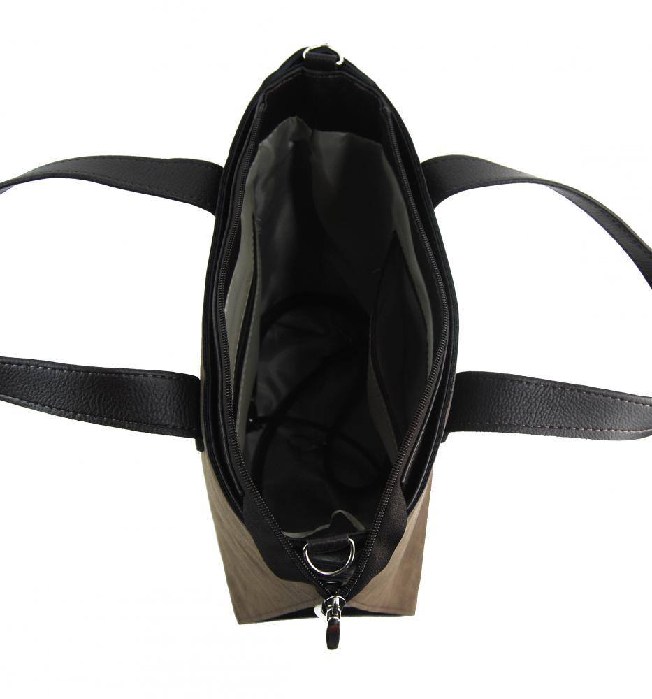 Velká tmavě hnědá dámská kabelka do ruky i na rameno S777 GROSSO