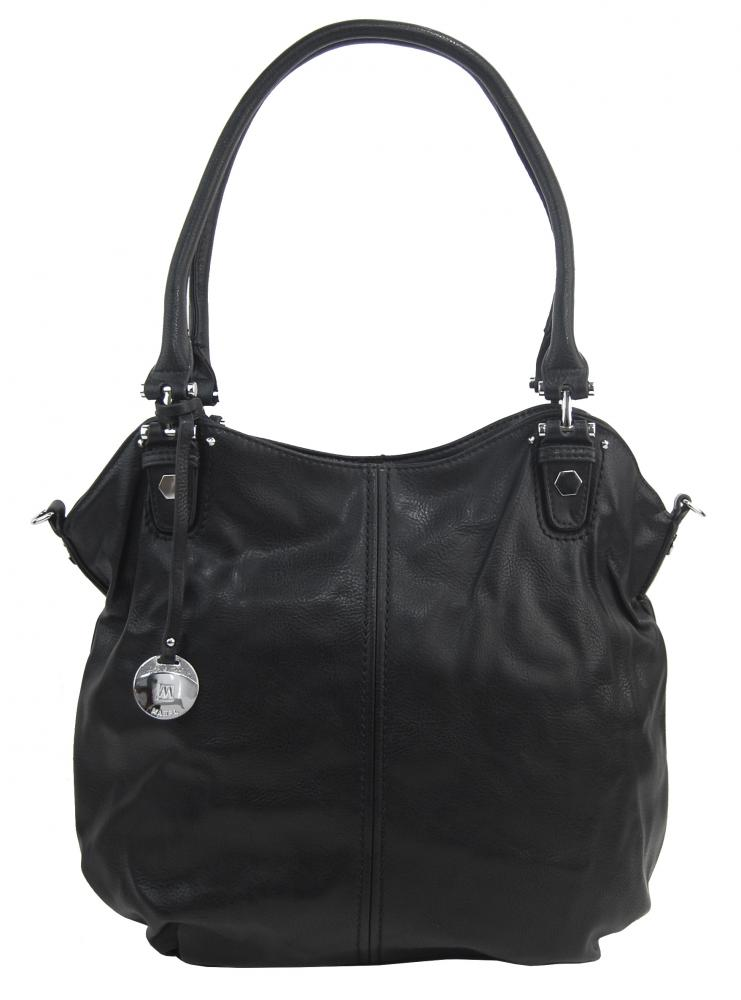 Velká dámská kabelka / pytel přes rameno 334-MH černá