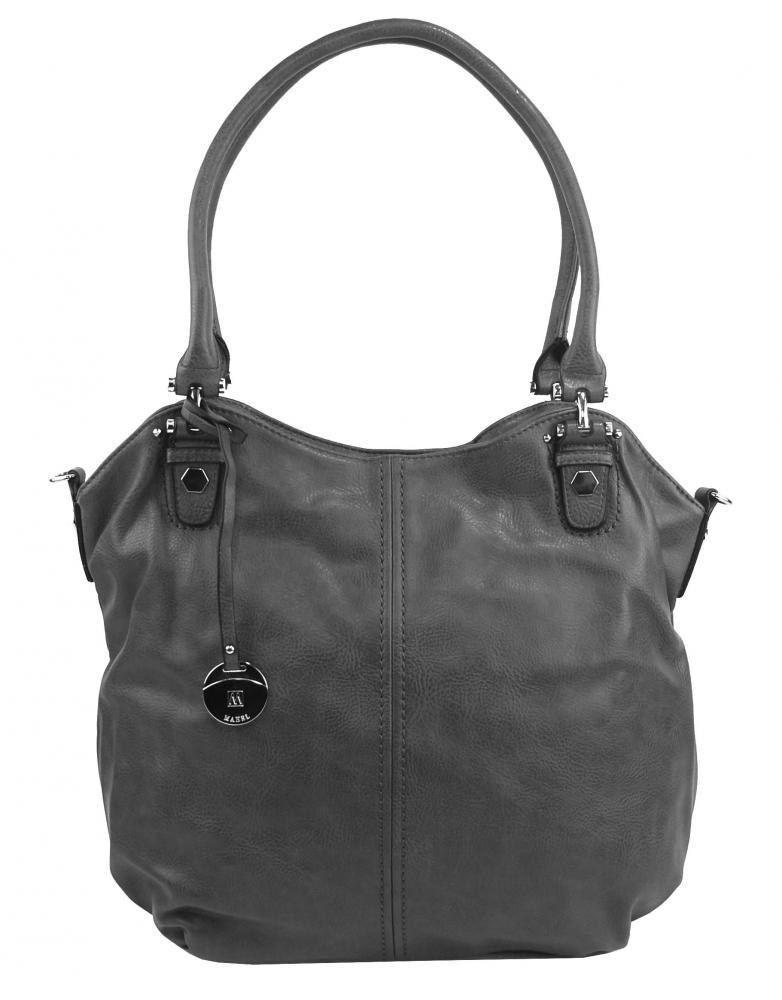 Veľká dámska kabelka / vrece cez rameno 334-MH tmavo sivá