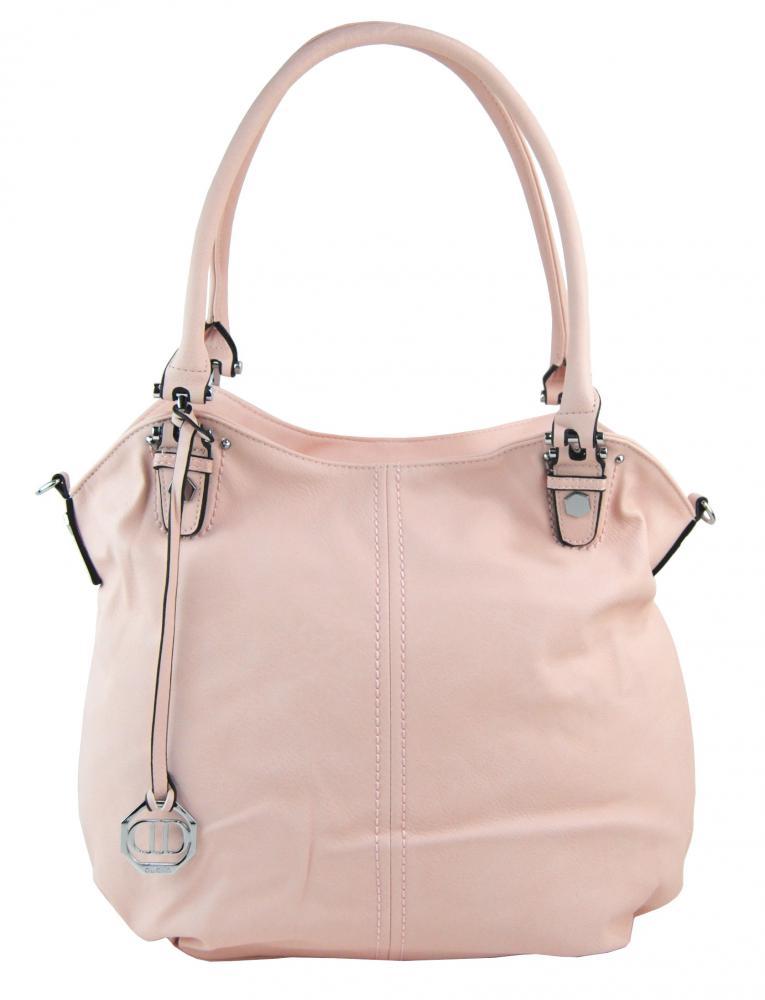 Velká dámská kabelka / pytel přes rameno 334-MH smetanově růžová