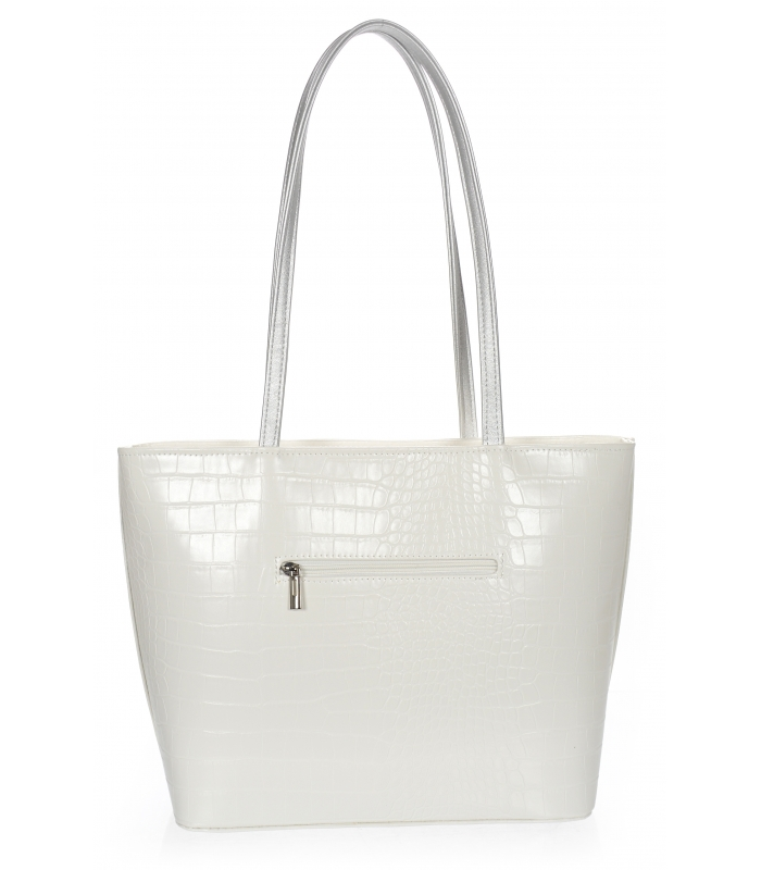 Velká bílá dámská kabelka s šedými ramínky S641 GROSSO