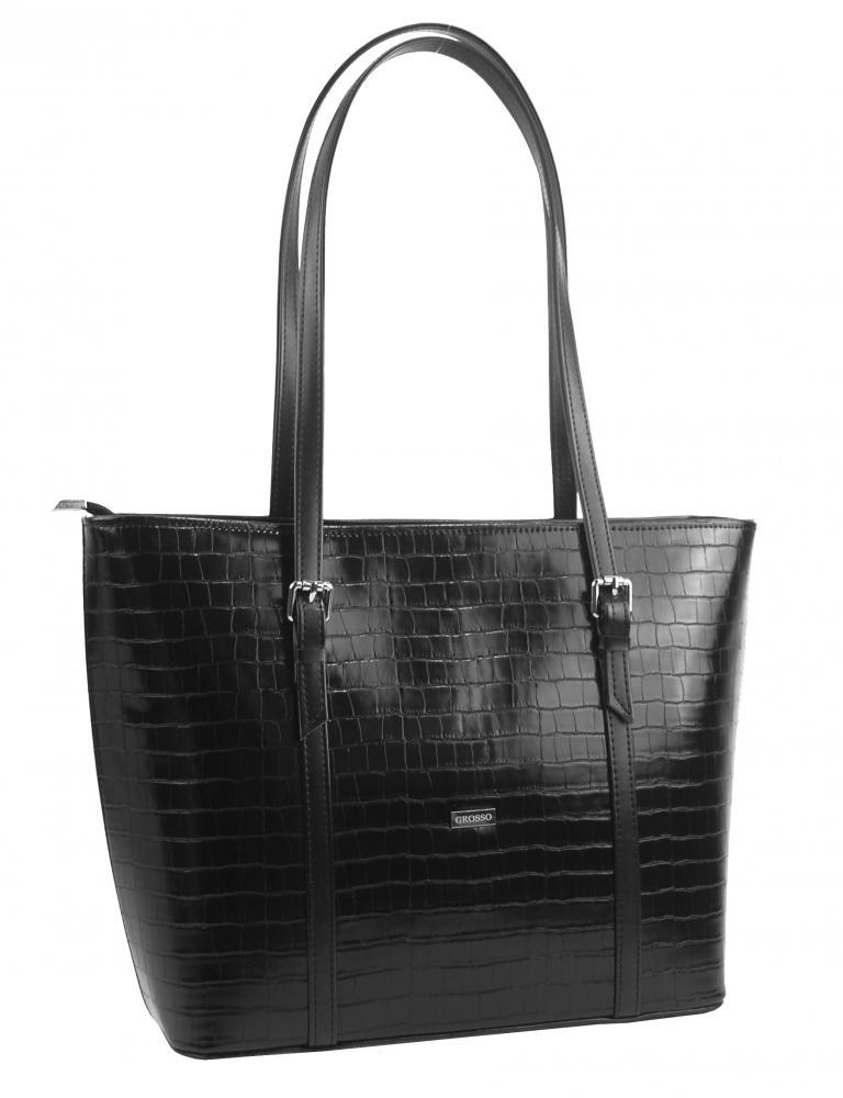 Veľká čierna dámska kroko kabelka cez rameno S641 GROSSO