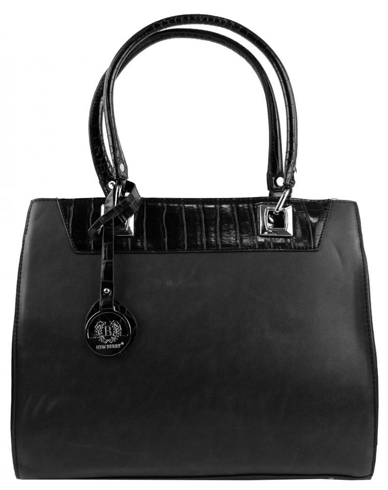 New Berry čierna kroko kabelka z brúsenej kože YH1619