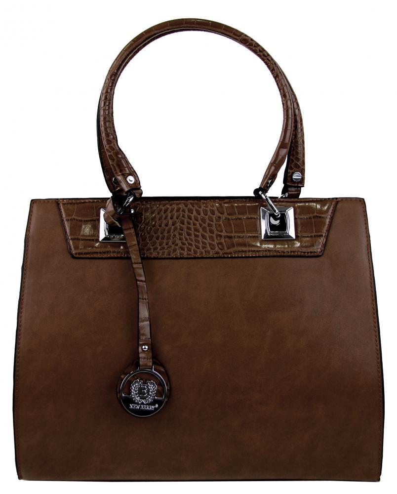 New Berry kávovo hnedá kroko kabelka z brúsenej kože YH1619