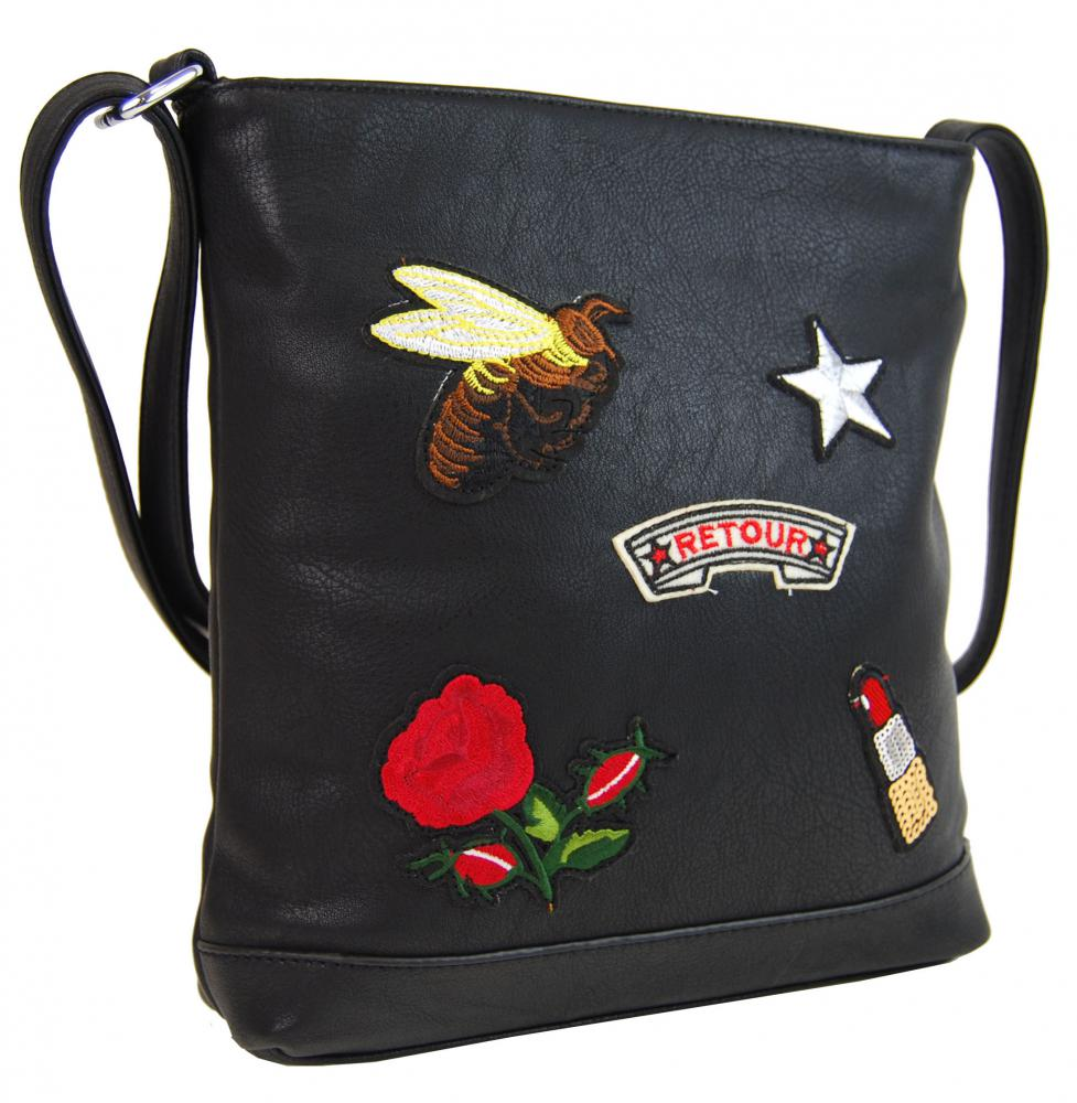 Crossbody dámska kabelka s výšivkami YH1636 čierna