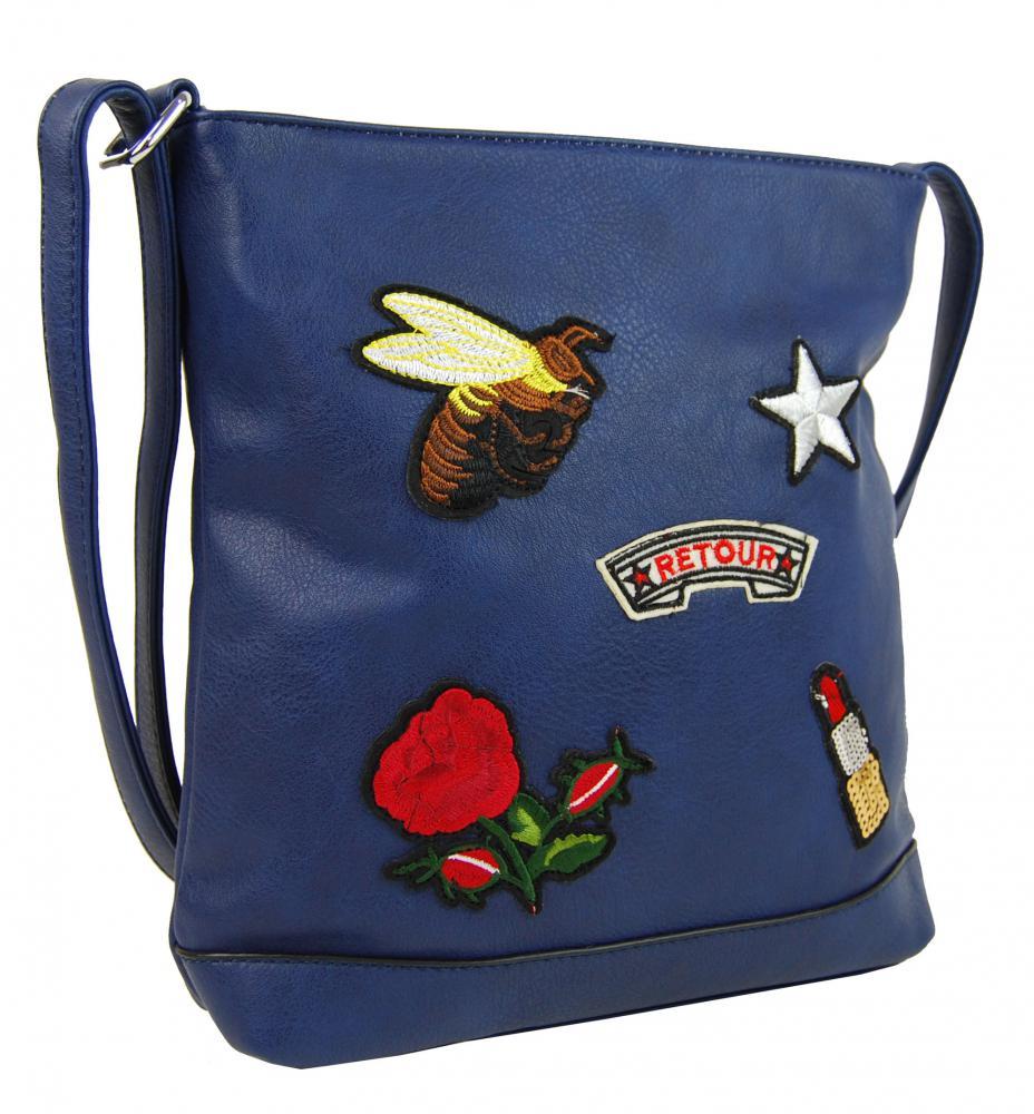 Crossbody dámská kabelka s výšivkami YH1636 modrá