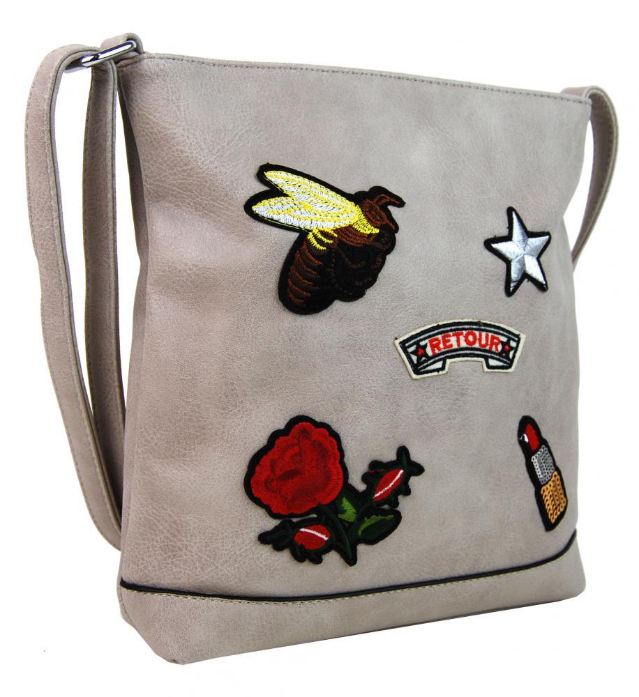 Crossbody dámská kabelka s výšivkami Valentina světle šedá