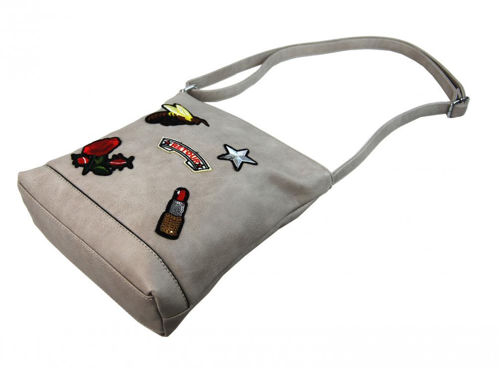Crossbody dámska kabelka s výšivkami YH1636 svetlo šedá